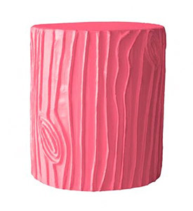 The fun Stump Stool by Stray Dog Designs shown in pink.  This and more Stray Dog furniture are offered at Delicious Designs in Hingham, MA.